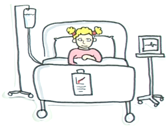 Disabled child in hospital bed