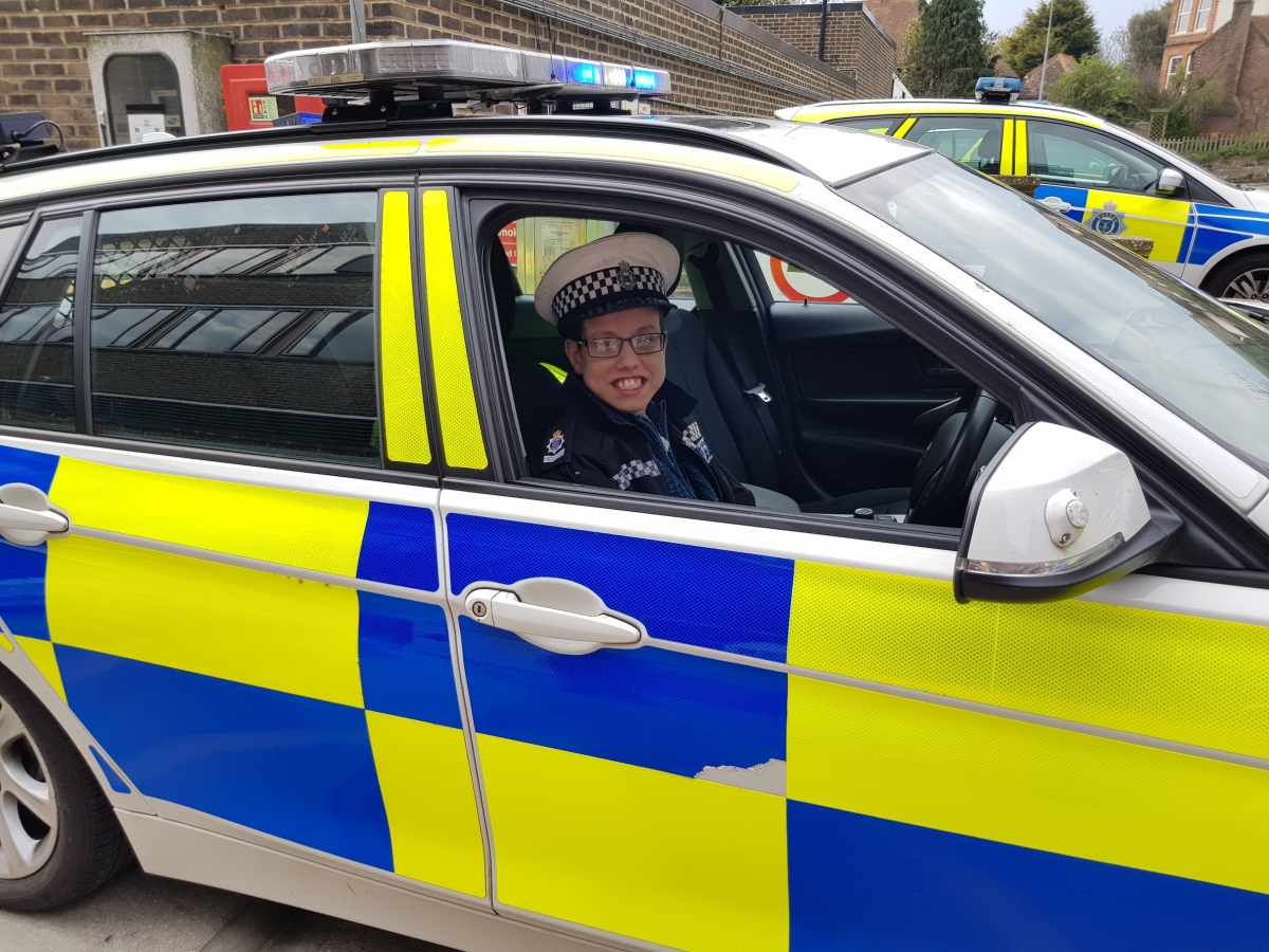 Martin in the Police Car